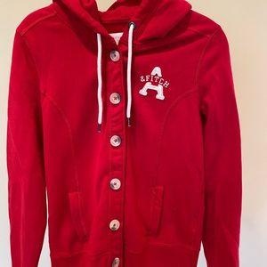 Abercrombie Women's Large Red Button Sweatshirt